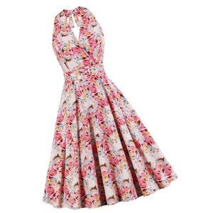 Dresses & Skirts - Halter Sleeveless Flared Summer Pin Up Dress